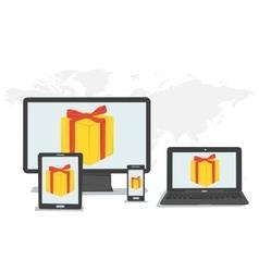 Gift boxes bonus on monitors vector image