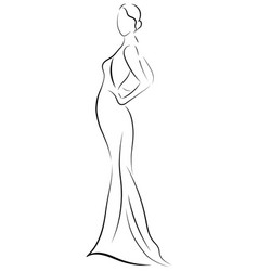 girl in a dress linear outlines a female vector image