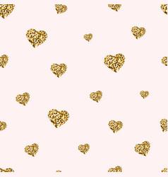 gold glitter hearts seamless pattern golden vector image