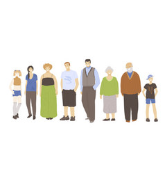 group people with different age - kids teens vector image