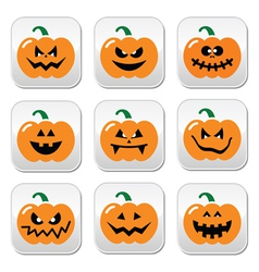 Halloween pumpkin buttons set vector image