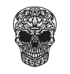 Hand drawn human skull made floral shapes design vector