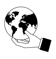 hand holding world map vector image