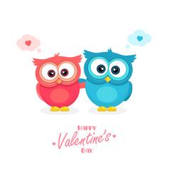 Happy valentines day poster cartoon hugging owls vector