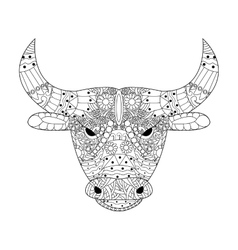 Head bull coloring for adults vector image