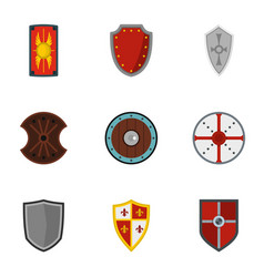 heraldic shield icons set flat style vector image