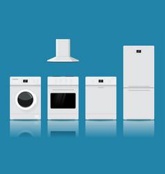 Home appliances flat design on blue background vector