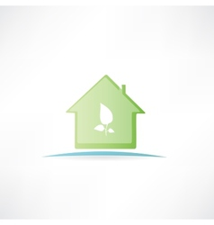 House with a painted leaf on it vector