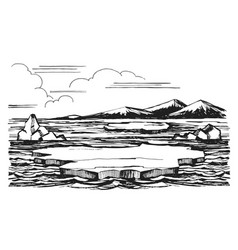 iceberg sketch hand-drawn cartoon vector image
