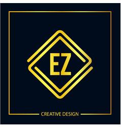 Initial ez letter logo template design vector