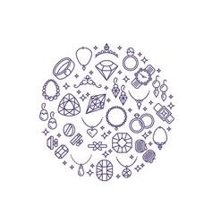 Jewelry and gemstones line icons luxury vector