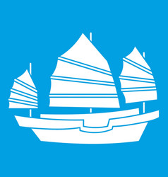 Junk boat icon white vector