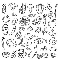 Ketogenic diet icon set vector