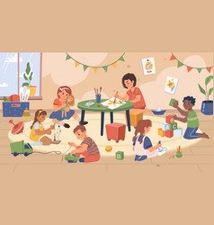 Kids playing in kindergarten classroom with toys vector