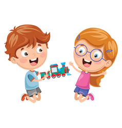 Kids playing with toy vector