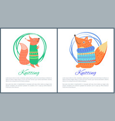 knitting sweaters on funny toy fox squirrel vector image