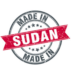 Made in sudan red round vintage stamp vector