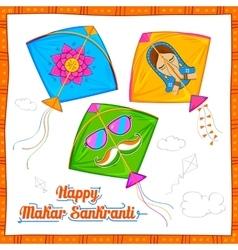 Makar Sankranti wallpaper with colorful kite vector