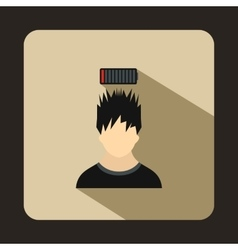 Man with low battery over head icon flat style vector image