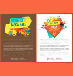 Mega sale and discounts poster vector
