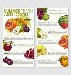 Menu sketch for tropical exotic fruit vector