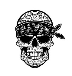 mexican sugar skull in bandana design element vector image