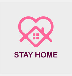 Modern professional icon stay home in gray vector