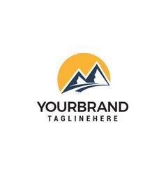 mountains and sun logo design concept template vector image