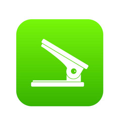 Office paper hole puncher icon digital green vector