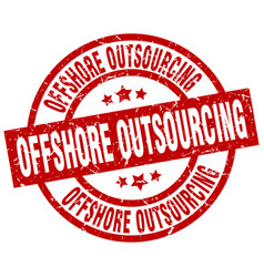 offshore outsourcing round red grunge stamp vector image