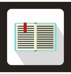 Open book with a bookmark icon flat style vector image