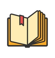 Open book with ribbon bookmark icon vector