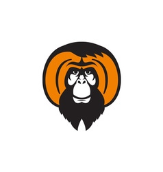 Orangutan Bearded Tussled Hair Retro vector