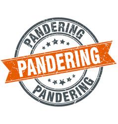 pandering round grunge ribbon stamp vector image
