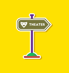 Paper sticker on stylish background theater sign vector