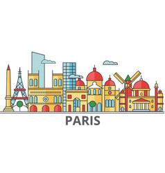 Paris city skyline buildings streets silhouette vector