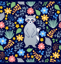 Pattern with raccoon and flowers vector