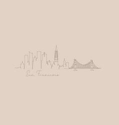 pen line silhouette san francisco beige vector image