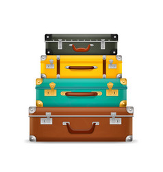 Pile vintage suitcases realistic old fashioned vector