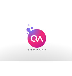 qa letter dots logo design with creative trendy vector image