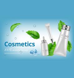 Realistic cosmetics banner white bottles vector