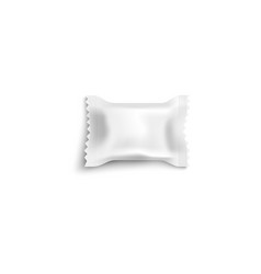 realistic white candy wrapper mockup with blank vector image