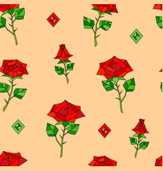 red abstract origami roses seamless pattern vector image