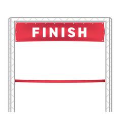 Red ribbon in finishing line run vector