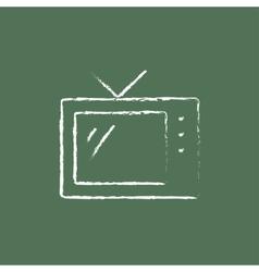 Retro TV icon drawn in chalk vector image