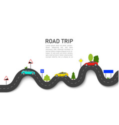 Road map with car location roadmap trip or vector