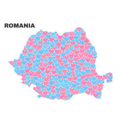 Romania map - mosaic of lovely hearts vector