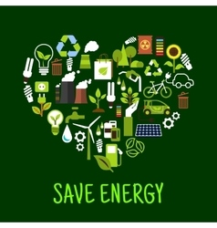 Save energy concept icons in shape of heart vector