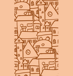 seamless doodle pattern with ocher houses for vector image