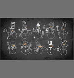 set doodle sketch snowmen on blackboard vector image